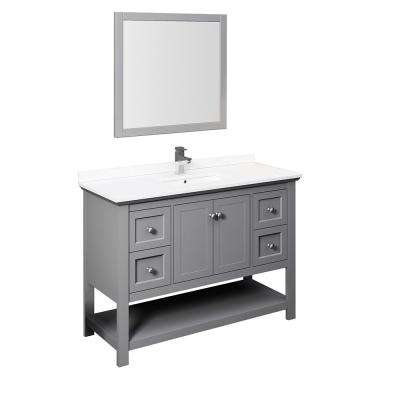 Manchester 48 in. W Bathroom Vanity in Gray with Quartz Stone Vanity Top in White with White Basin and Mirror