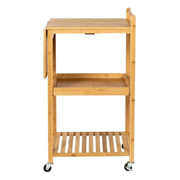 Multi-Purpose Bamboo Kitchen Cart with Drop Leaf