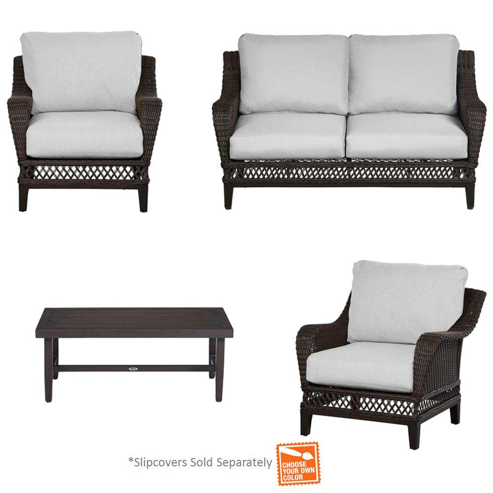 Hampton Bay Woodbury 4-Piece Patio Seating Set with Cushi...