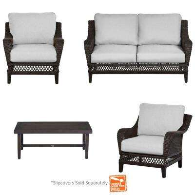 Woodbury 4-Piece Patio Seating Set with Cushions Included, Choose Your Own Color