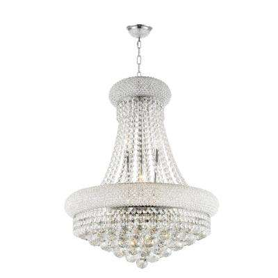 Empire 14-Light Polished Chrome Chandelier with Clear Crystal