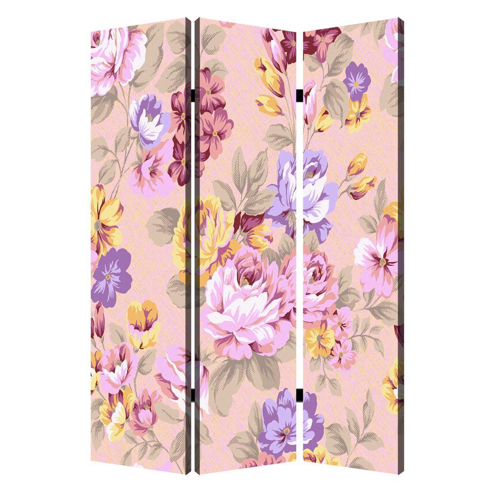 Screen Gems Floral Pattern 6 ft. Multi-color 3-Panel Room Divider