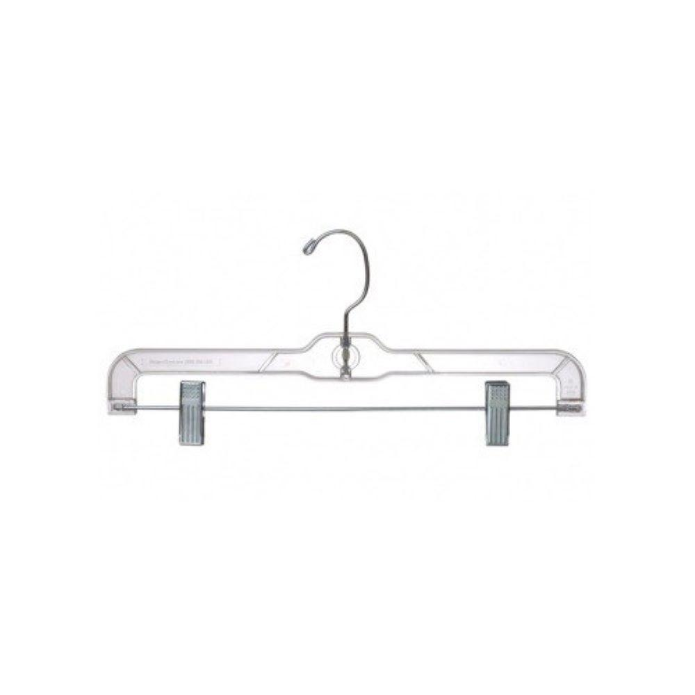 Only Hangers 14  Clear Plastic Pant and Skirt Hanger w/Clips (Pack of 25) Only Hangers clear plastic pant and skirt hangers come with a polished steel swivel hook and strong metal clips with cushions for hanging. The swivel hook enables you turn the garment side to side without removing it from the hanger. The clips adjust and slide easily on the bar to accommodate hanging any size pants, shorts or ladies skirts. We only use heavyweight clear plastic in manufacturing our clothing hangers for strength and durability.