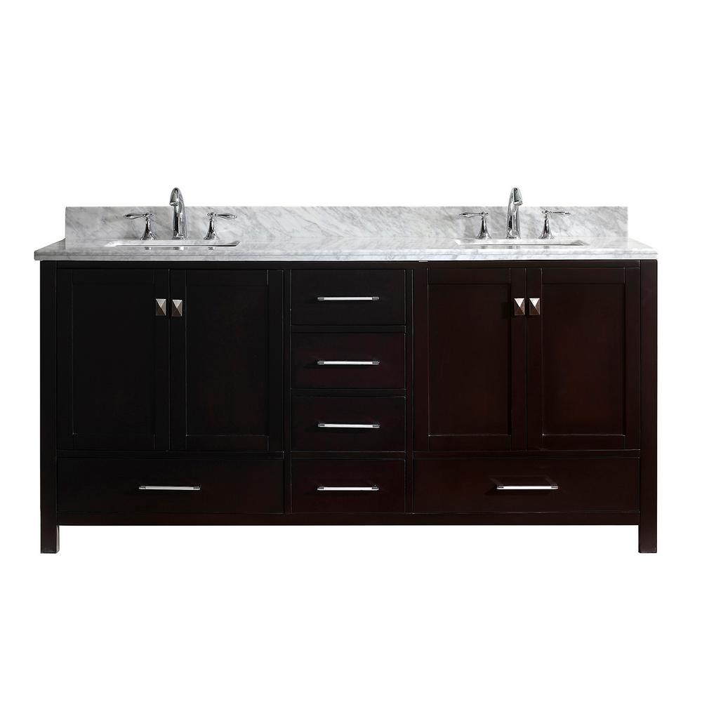 Virtu USA Caroline Avenue 72 in. W Bath Vanity in Espresso with Marble Vanity Top in White with Square Basin