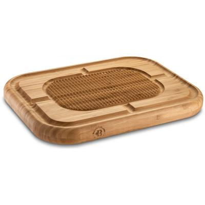 Bamboo Cutting Board with Juice Groove, Pyramid Design Bamboo Chopping Board Stabilizes Beef and Poultry While Carving