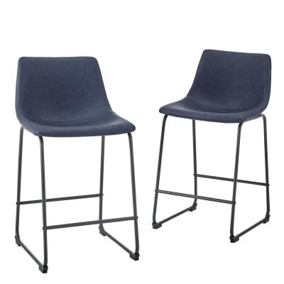 24 in. Navy Blue Faux Leather Counter Stool (Set of 2)