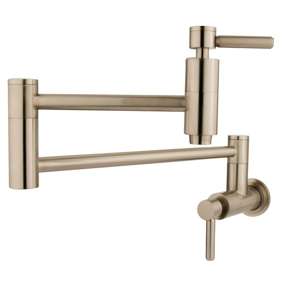 Kingston Brass Wall Mounted Potfiller In Satin Nickel Hks8108dl