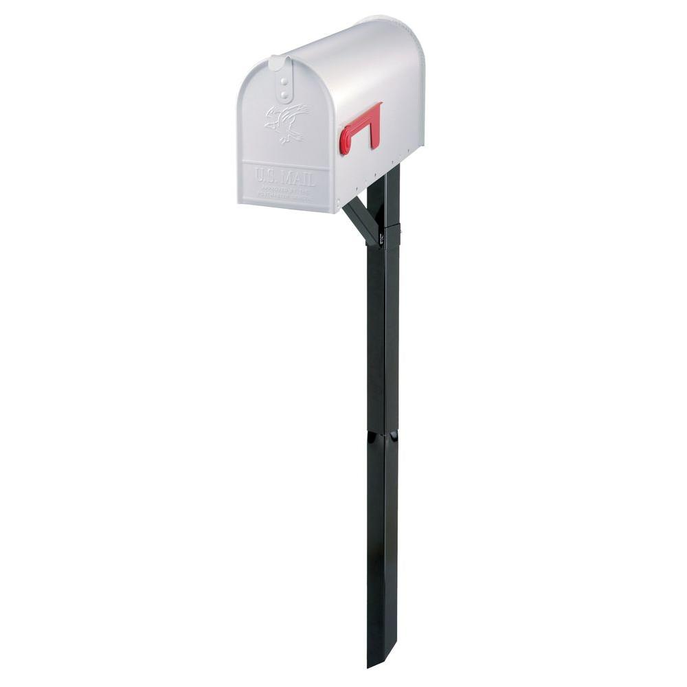 Edmond Elite White Steel Mailbox and Black Steel Drive-In Post Combo