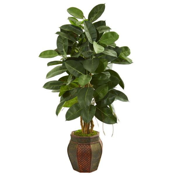Nearly Natural Indoor 52-In. Rubber Leaf Artificial Tree in Decorative Planter