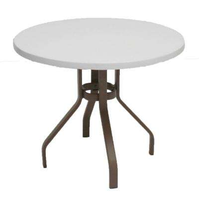 Marco Island 36 in. Brownstone Round Commercial Fiberglass Patio Dining Table