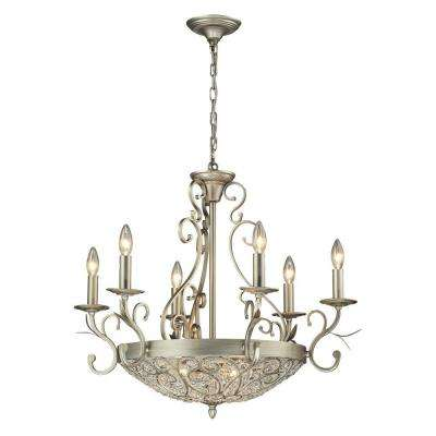 Valentino Collection 9-Light Aged Silver Chandelier With Metal And Crystal Shade