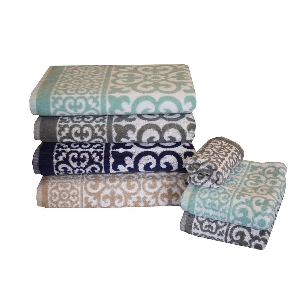 Arabesque 6-Piece 100% Cotton Bath Towel Set in Silver
