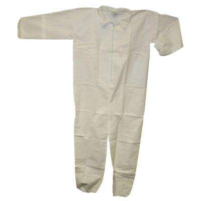 White Large Coverall Zip Front Elastic Wrist/Ankle with Collar (25-Pack)