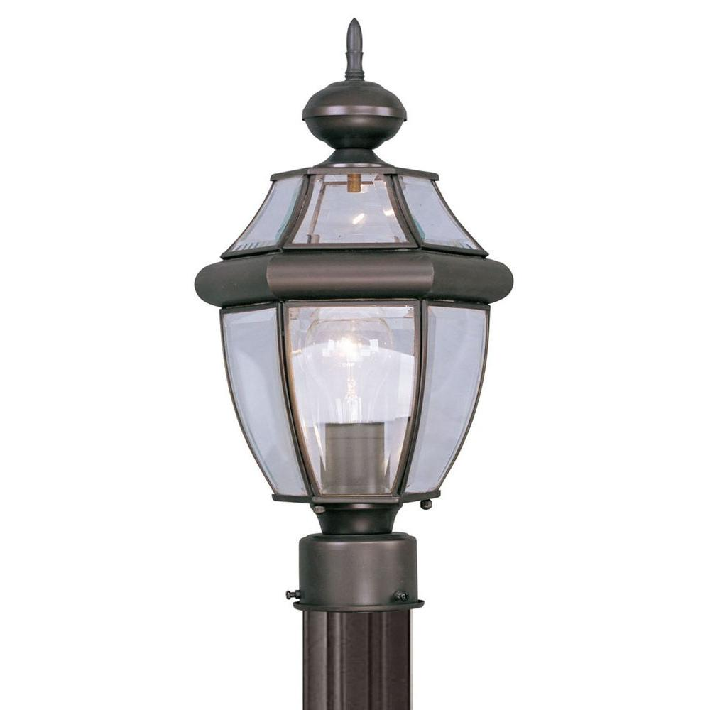 Livex Lighting Providence 1-Light Outdoor Bronze Incandescent Post Lantern