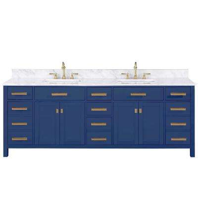 Valentino 84 in. W x 22 in. D Bath Vanity in Blue with Carrara Marble Vanity Top in White with White Basin