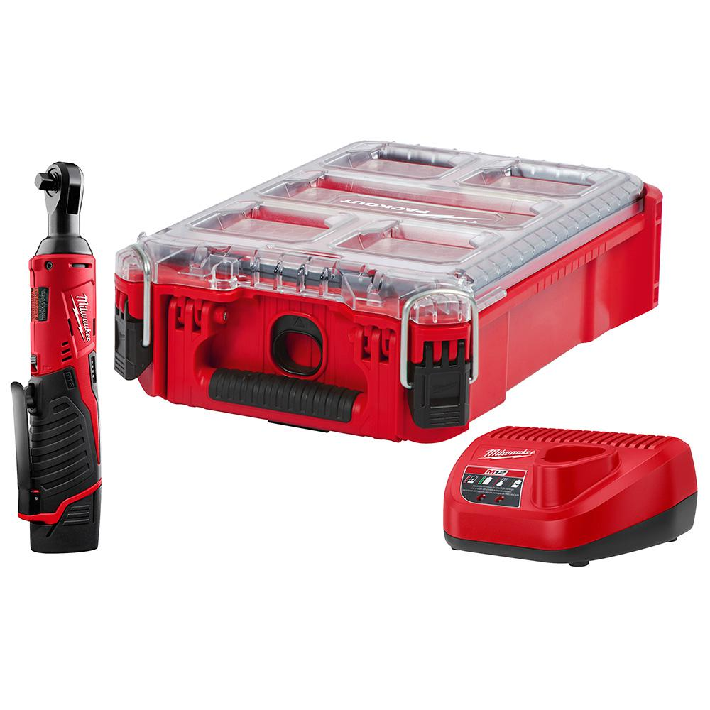 Milwaukee M12 12-Volt Lithium-Ion Cordless 3/8 in. Ratchet Kit W/ PACKOUT Case, (1) 1.5Ah Battery and Charger