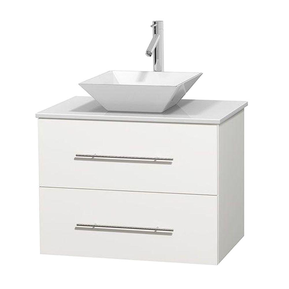 Centra 30 in. Vanity in White with Solid-Surface Vanity Top in