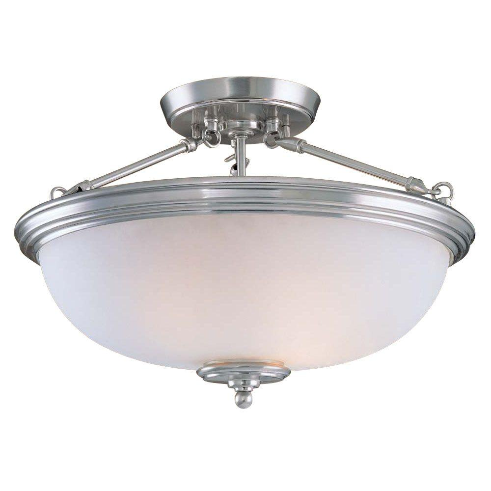 Hampton Bay 2-Light Brushed Nickel Semi-Flush Mount Light