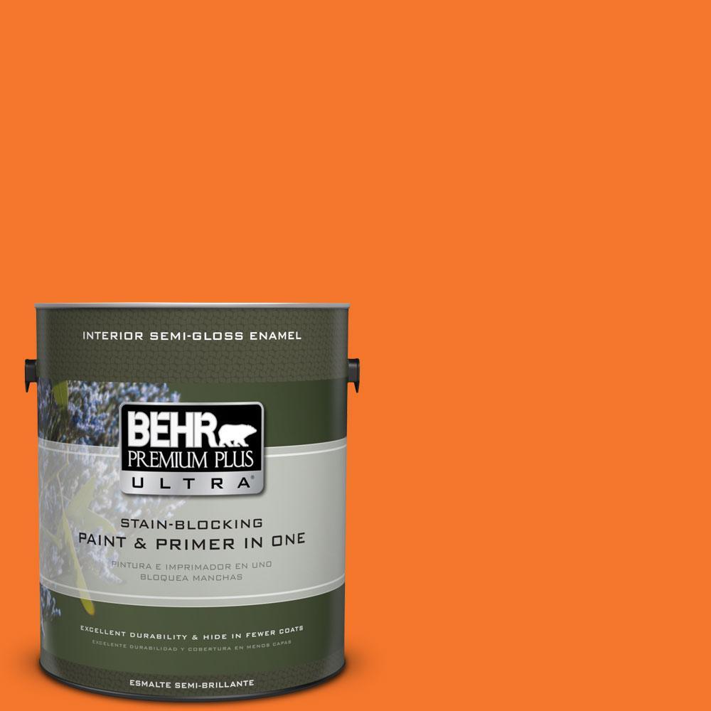 1 gal. #230B-7 Kumquat Semi-Gloss Enamel Interior Paint and Primer in