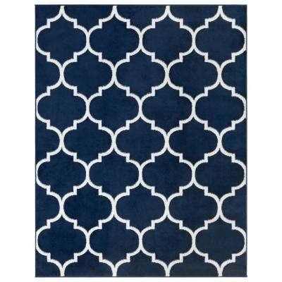 Royal Collection Navy Trellis Design 7 ft. 10 in. X 9 ft. 10 in. Area Rug