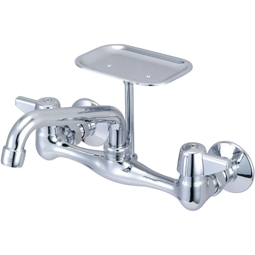 Central Brass 2-Handle Kitchen Faucet with Soap Dish and Tube Spout in PVD Polished Chrome
