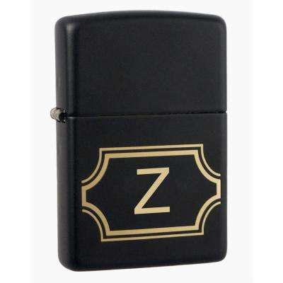 "Black Matte Lighter with Initial ""Z"""
