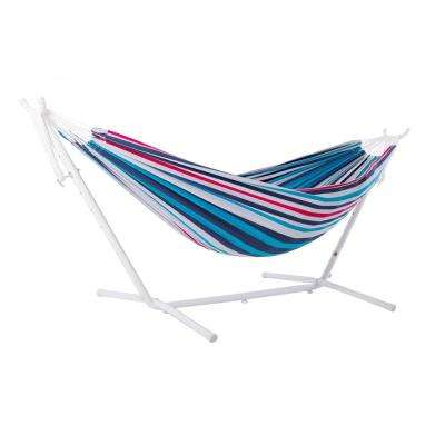 Vivere 9 ft. Cotton Double Hammock with Stand in White and Denim