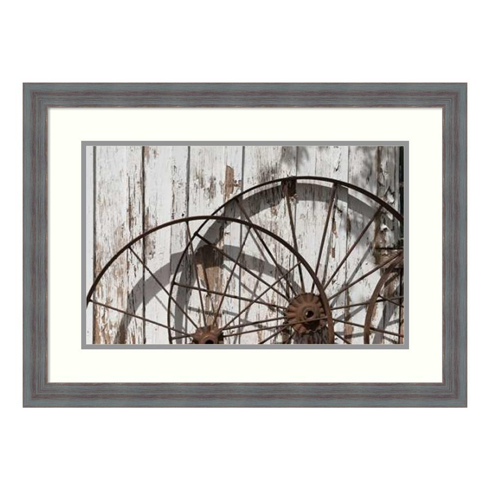 """""""Old wagon wheels against a shed in Buffalo Gap Historic Village, near Abilene, TX"""" by Carol Highsmith Framed Wall Art"""