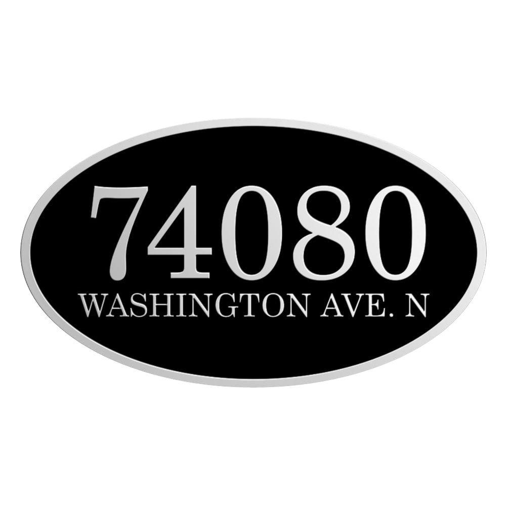 Metallic Arts 12 in. x 7 in. W Oval Black with Gold Blind Mount Address Plaque