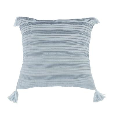 Silver Branch Blue Polyester 18 in. x 18 in. Square Decorative Throw Pillow