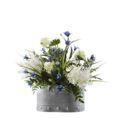 Indoor Alliums, Blue Spike Flowers and Greenery in Oval Metal Planter