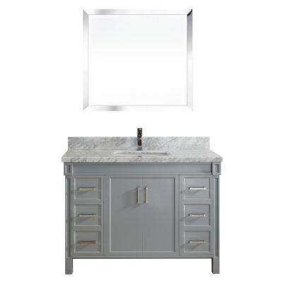 Serrano 48 in. W x 22 in. D Vanity in Oxford Gray with Marble Vanity Top in Gray with White Basin and Mirror