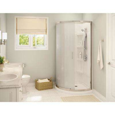 Cyrene 34 in.x 76 in. Off-Center Corner Shower Kit w/Semi-Frameless Mistelite Sliding Door Base Wall Kit in White,Chrome