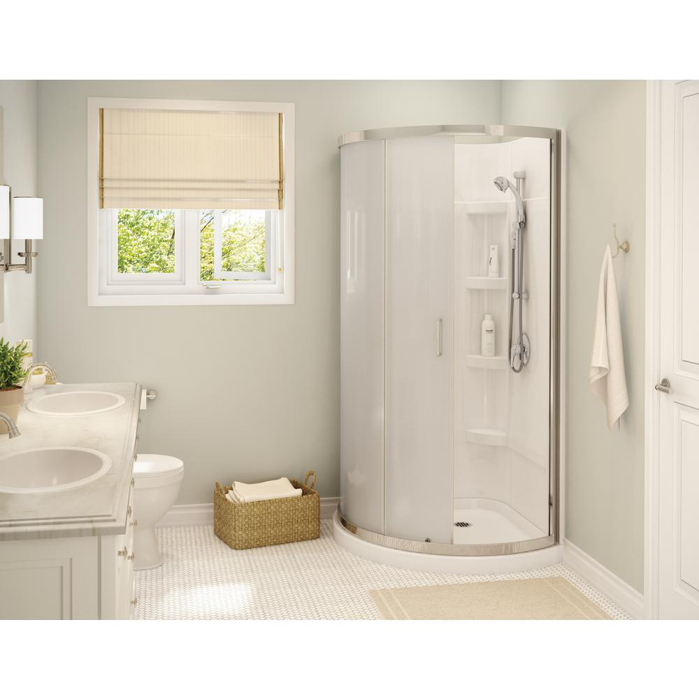 Cyrene 38 in. x 76 in. Corner Shower Kit in White with Semi-Frameless Mistelite Glass Sliding Door in Chrome