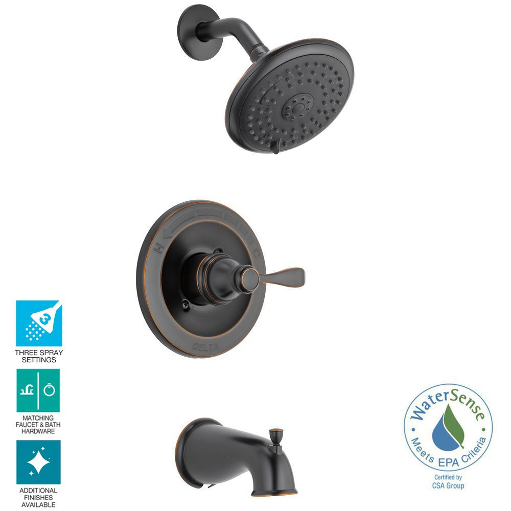 Delta Porter Single Handle 3 Spray Tub And Shower Faucet In Oil Rubbed Bronze Valve Included