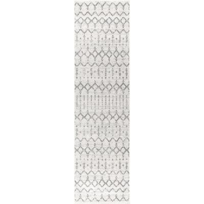 Moroccan HYPE Boho Vintage Diamond Cream/Gray 2 ft. 3 in. x 8 ft. Runner Rug