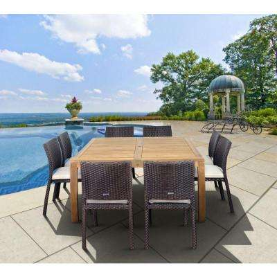 Georgia 9-Piece Square Patio Dining Set with Off-White Cushions