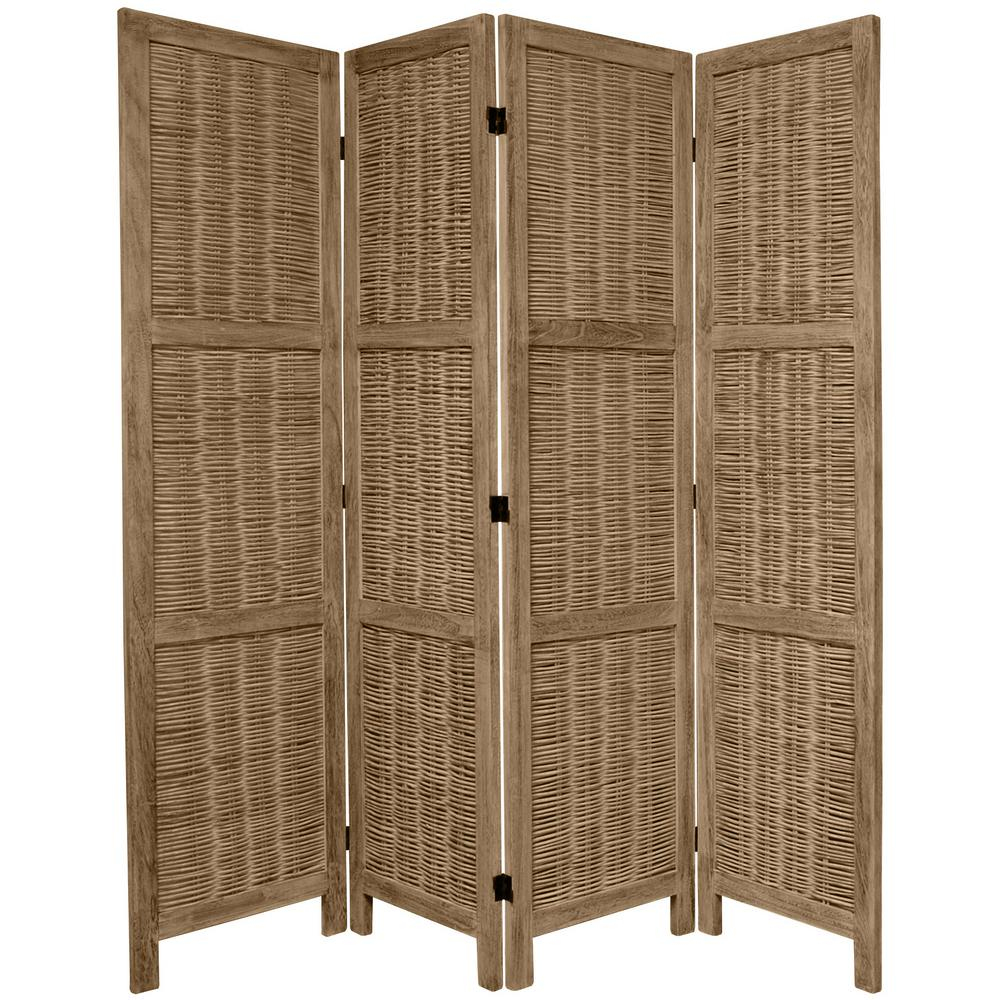 Oriental 6 ft. Burnt Grey Matchstick 4-Panel Room Divider