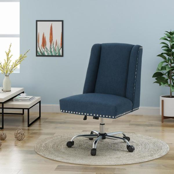 Noble House Chiara Navy Blue Fabric Home Office Desk Chair With Stud Accents 40955 The Home Depot