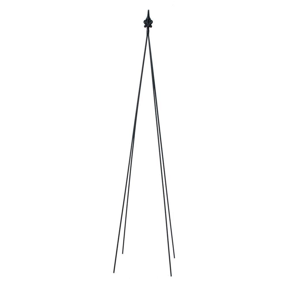 Fleur-De-Lis Garden Trellis Tool, 78 in. Tall Black Powder Coat Finish