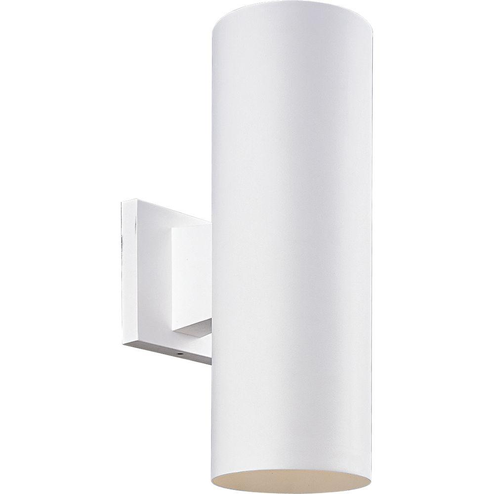 Progress Lighting Cylinder Collection 2-Light White Outdoor Wall ...