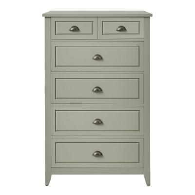 Cordale Moss Green Wood 6 Drawer Chest of Drawers with Cup Pull Handles (31 in W. X 49 in H.)