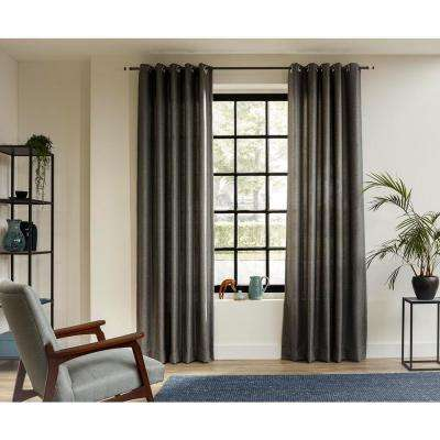 20 MM 95 in. Intensions Curtain Rod Kits in Anthracite with Cylinder Finials and Open Brackets