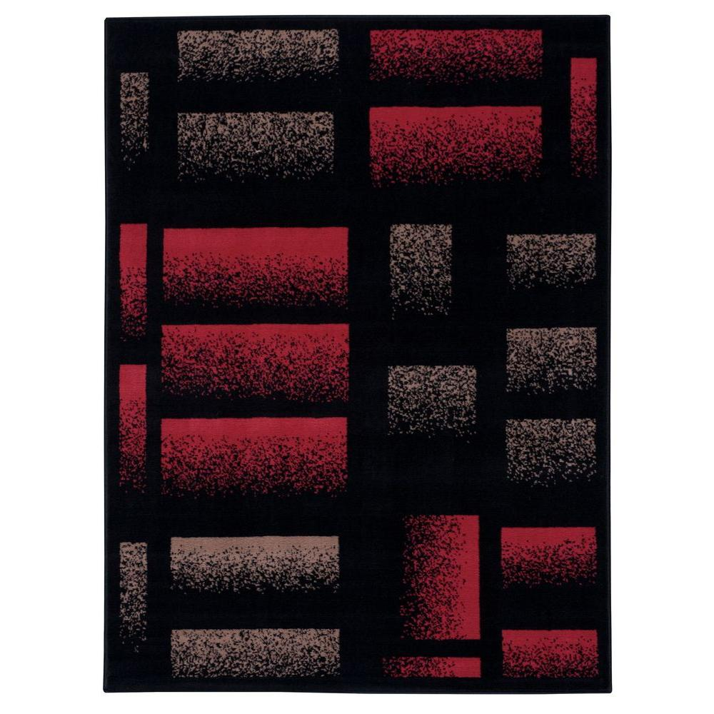 Nourison Overstock Modesto Brick Black 3 ft. 11 in. x 5 ft. 3 in. Area Rug