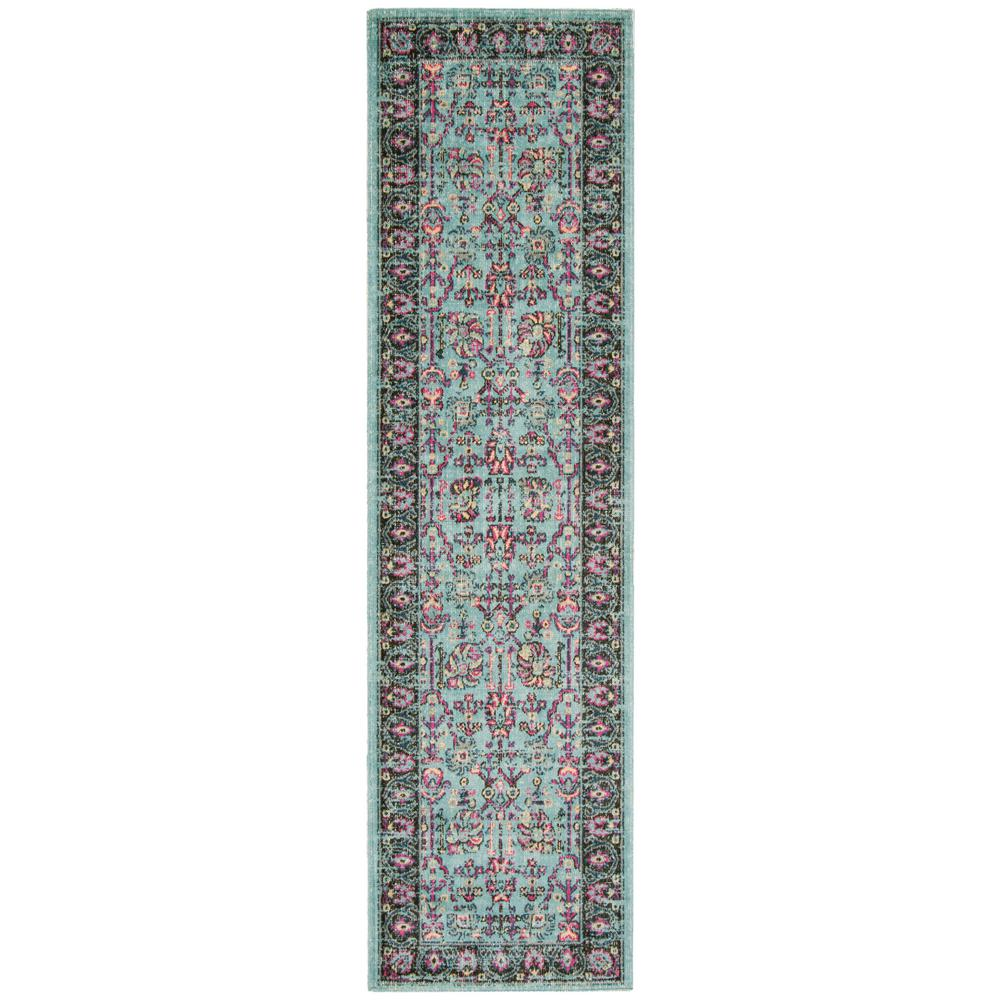 Artisan Light Blue/Black 2 ft. 2 in. x 8 ft. Runner