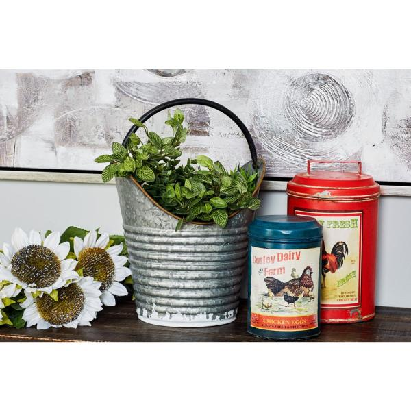 Litton Lane Gray Iron Pail Planters with Handles (Set of 3)