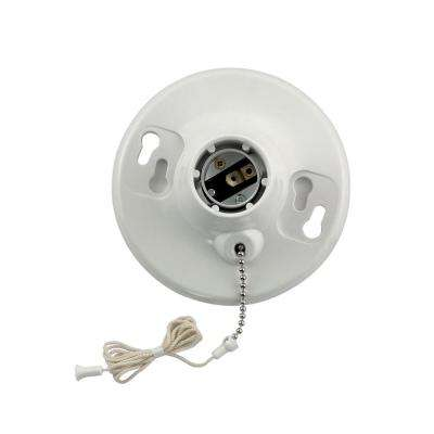 660W Medium Base One-Piece Single Circuit Outlet Box Mount Plastic Incandescent Lampholder with Pullchain, White