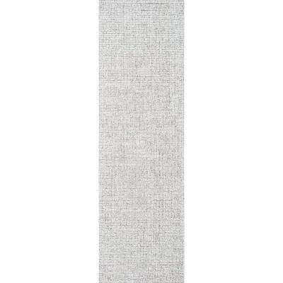 """London Collection Gray 100% Wool 2'6"""" x 8' Hand-Tufted Solid Area Rug"""