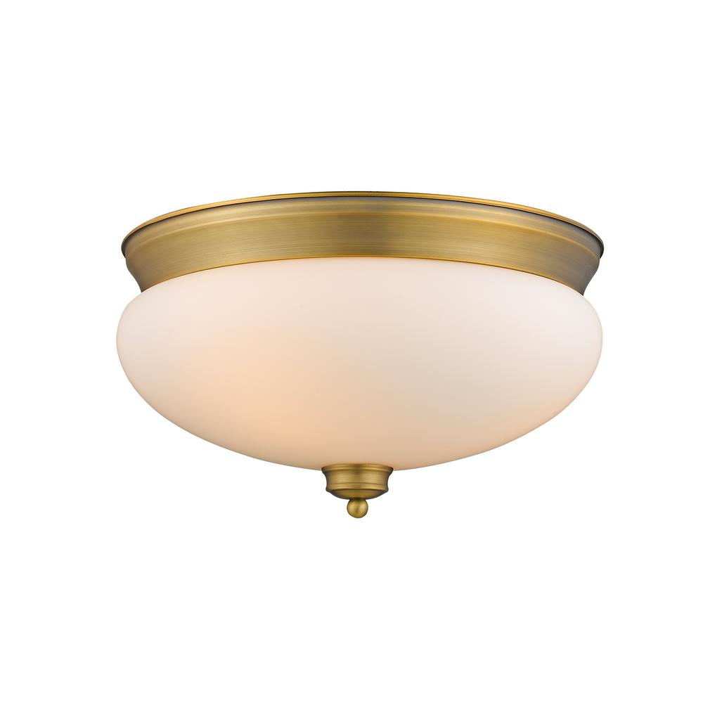 13.25 in. 3-Light Heritage Brass Flush Mount with Matte Opal Shade