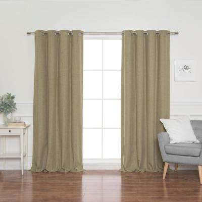 Linen Look 52 in. W x 96 in. L Grommet Curtains in Brown (2-Pack)